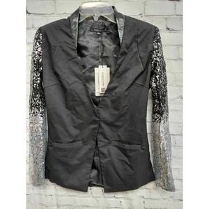 Haoduoyi Womens Suit Jacket Blazer Black Silver Pockets Sequinned S New